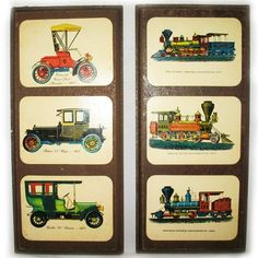 LOT 2 OLD CLASSIC ANTIQUE CARS TRAIN LOCOMOTIVE Wood Wooden Wall Hanging Plaques $125 .. we sell more VINTAGE HOME DECORATIONS at http://www.TropicalFeel.com