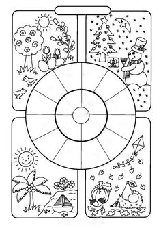Seasons and months worksheet/coloring page. Classroom Activities, Activities For Kids, Art For Kids, Crafts For Kids, English Activities, Early Childhood Education, Science And Nature, Kids Education, Teaching English