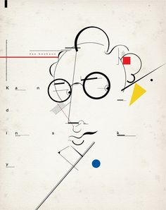 "bauhaus-movement: ""Kandinsky Portrait Bauhaus Movement Modern Art Russian © Santiago Crescimone - bauhaus-movement.com """