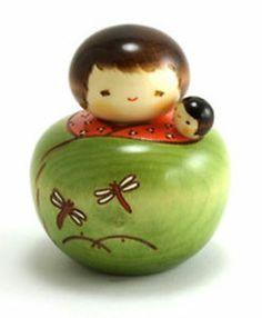 "Japanese Creative KOKESHI Wooden Doll 3.75"" Hatsumago Mother/ Baby Made in Japan | eBay"