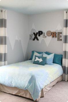 how to paint a mountain mural, wall mural in little boy room