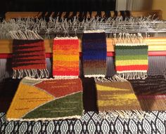 Cathy Jacobus, a collection of little pieces woven in the Weaving Tapestry on Little Looms online class of Rebecca Mezoff. www.tapestryweaving.com