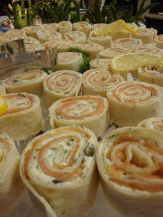 Smoked Salmon pinwheels with lemon-herb cream cheese