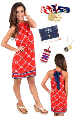Who else is ready to be on the BEACH this Summer?! Get your #nautical outfit ready! Mondaydress.com has the perfect dress for you! Marleylilly.com has great accessories to make your outfit pop! #beach #summer #USA