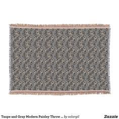Taupe and Gray Modern Paisley Throw Blanket