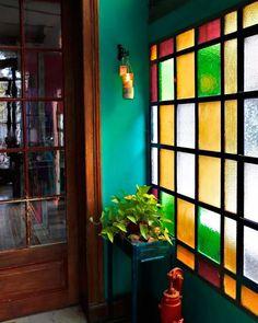 Love all the greens! Interior Decorating, Interior Design, Glass Blocks, Home Decor Furniture, Windows And Doors, Colored Glass, Boho Decor, My Dream Home, Interior And Exterior
