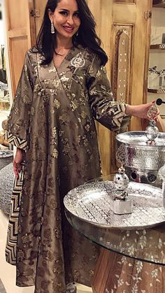 Party Wear, Traditional Black and Grey color Saree in Dupion Silk, Silk fabric with Classic, South Embroidered, Thread work : 1566778 Salwar Dress, Caftan Dress, Arab Fashion, Muslim Fashion, African Fashion Dresses, African Dress, Chic Outfits, Fashion Outfits, Mode Abaya