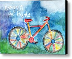 Enjoy The Ride- Colorful Bike Painting Canvas Print / Canvas Art By Linda Woods
