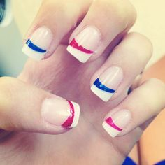 French Manicure with a Twist, Slanted Red and Blue Stripe Under White Tip, 4th of July Nails. #NailArt