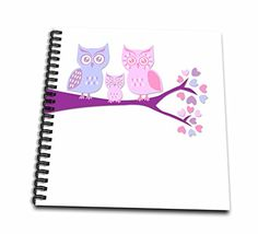 3dRose db_128534_2 Cute Owl Family with Baby Girl Purple and Pink Memory Book, 12 by 12""