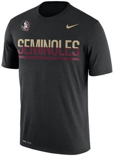 Support the Florida State Seminoles with this Nike men's NCAA Legend Staff Sideline T-shirt. The soft, moisture-wicking Dri-FIT technology keeps you comfortable all day long. Crew neck Short sleeves Screen print team graphic at front Screen print brand logo at top left Moisture-wicking Dri-FIT technology Regular fit Tagless Polyester Machine washable