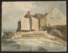 Joseph Mallord William Turner 'Houses and Boats at Gravesend', 1796 - Gouache, graphite and watercolour on paper -  Dimensions Support: 210 x 271 mm -  Collection -  Tate