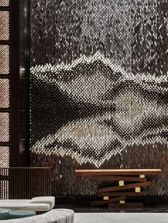 London-based design practice, Giles Miller Studio, specialises in the development of truly innovative surfaces for interior, hospitality and retail design projects Lobby Interior, Interior Walls, Interior Architecture, Interior And Exterior, Hotel Interiors, Office Interiors, Lobby Reception, Counter Design, Crystal Design