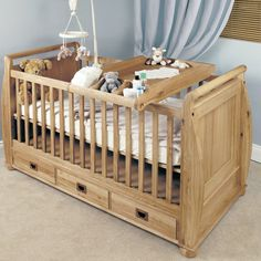 Amelie Solid Oak Baby Cot-Top Baby Changer -  - Bed - Baumhaus - Space & Shape - 1