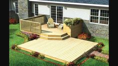 Split Level Patio Deck w/ Planter. Enjoy your favorite seasonal flowers and gourmet herbs up close, on this comfortable two-level deck with built-in planter. Upper Deck With Additional Step 3 Different Sizes for the Lower Deck