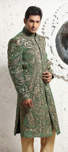 12646: Like this white-green Sherwani? #menswear