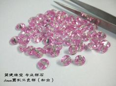 #multicolor cz #Jianjie GEMS pink and white, 8mm round shape http://jianjiezhubao.1688.com