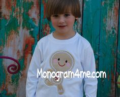 Can't Catch Me i'm the Gingerbread Man Boys Applique Holiday Tee!!