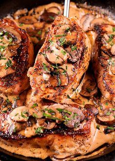 Boneless Pork Chops in Creamy Irish Whiskey Sauce