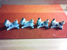 Vintage Erphila Porcelain Dogs With Bugs Germany Figurines Lot of 4 Puppy Dog #Erphila