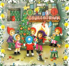 Vintage Advent Calendar ~ Children playing around the Christmas tree.
