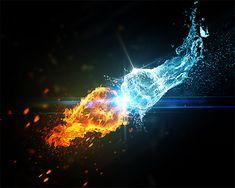 L'eau vs Le feu avec Photoshop