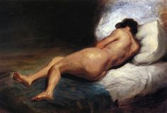 Study of a Reclining Nude - Eugene Delacroix - Completion Date:1824