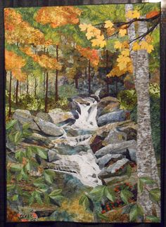 Skinny Dip Falls by Eileen Williams. SAQA VA/NC Region: 2014 Houston International Quilt Festival