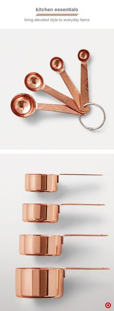 kitchen game up a notch for fall with copper baking tools. Not only does this rich metal add warmth to your home, but these metallic measuring cups and spoons are absolutely stunning. This season, it's copper's time to shine. Kitchen Games, Kitchen Tools, New Kitchen, Kitchen Decor, Copper Kitchen Utensils, Rose Gold Kitchen Appliances, Cooper Kitchen, Retro Appliances, Viking Appliances