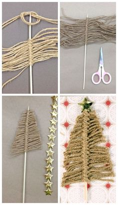 Easy 1 minute Twine Christmas Trees, plus enter to WIN May Arts Ribbon, to make your own!