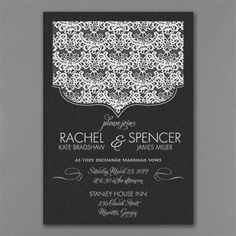 Regal and romantic, all at the same time! The lace crest on this black shimmer wedding invitation is printed in your choice of ink or foil to match your wedding style.