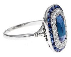 Art Deco Sapphire & Diamond Ring C1920   268942   Sellingantiques.co.uk