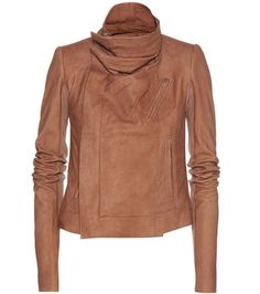 Dark brown RICK OWENS  leather jacket  for woman Tan Classic Biker Leather…