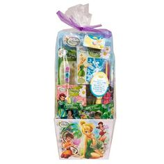 Disney Fairies Easter Basket Includes (1) Disney Fairies Easter Basket that includes (1) plaster paint set, chalk, (1) fuzzy puzzle with markers, (1) modeling clay set and 2.6 oz. of candy. This is an officially licensed Disney product.