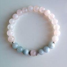 Astrology ~ Taurus Sign ~ Genuine Aquamarine & Rose Quartz Bracelet w/ Sterling Silver Caps and Spacers