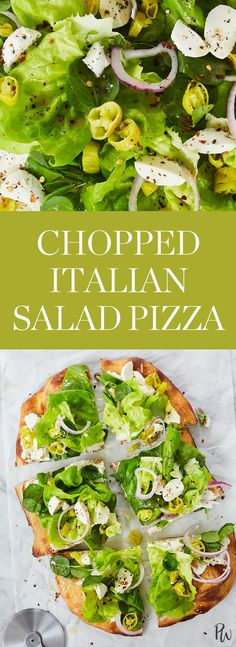 PSA: It's time to ditch your sad lunch salad. This chopped Italian salad pizza is a far better way to eat your greens. Plus, thanks to store-bought dough, the thin and crispy-crusted beauty is as easy to toss together as your go-to bowl of kale. #saladpizza #pizza