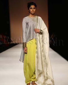 #Exclusivelyin, #IndianEthnicWear, #IndianWear, #Fashion, Chaand Dusk Grey High Low Kurta With Lime Patiala Salwar