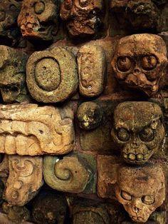 """ancientart: """" Ancient Mayan skull carvings from Copan. Courtesy & currently located at the Museo Regional de Arqueología Maya, Honduras. Photo taken by Recovering Vagabond """" Mayan History, Ancient History, Maya Art, Maya Civilization, Inka, Art Premier, Aztec Art, Mesoamerican, Ancient Artifacts"""