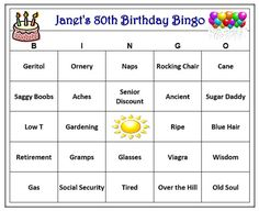 Personalized 80th Birthday Party Bingo Game Age Themed
