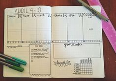 Bullet journal weekly layout spread