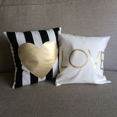 Black and White Stripe with Gold Vinyl Heart Applique on Etsy, $20.00
