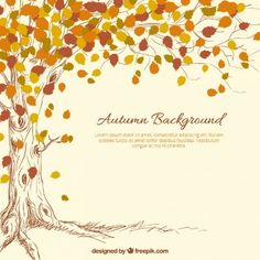 hand drawn autumn tree background