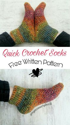 It's a free written pattern for easy crochet socks that don't take much time to make! It's a free written pattern for easy crochet socks that don't take much time to make! Crochet Sock Pattern Free, Easy Crochet Slippers, Crochet Boots, Knit Or Crochet, How To Crochet Socks, Crotchet Socks, Free Crochet Slipper Patterns, Free Easy Crochet Patterns, Free Pattern