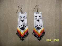 free Seed Bead Earring Patterns | ... Free Patterns | Hand Seed Bead White Wolf Native style beaded earrings