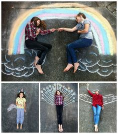 Chalk drawing - turn people into characters