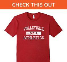 Mens Volleyball Athletics T Shirt No. 1 Distressed Medium Cranberry - Sports shirts (*Amazon Partner-Link)