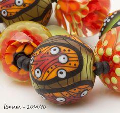 """Artisan Lampwork Beads by Romana - """"Shining October"""" #ArtisanLampworkBeads"""
