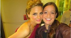 Stana Katic with a fan