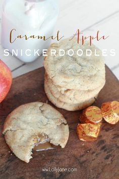 Caramel Apple Snickerdoodles cookies recipe, perfect fall or Thanksgiving dessert!