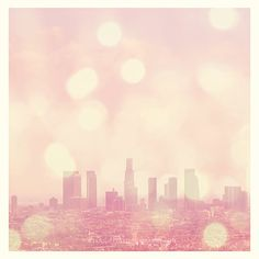 Los Angeles skyline photography, City of Dreamers, as seen on Modern Family, nursery pink downtown LA cityscape summer travel girls room art